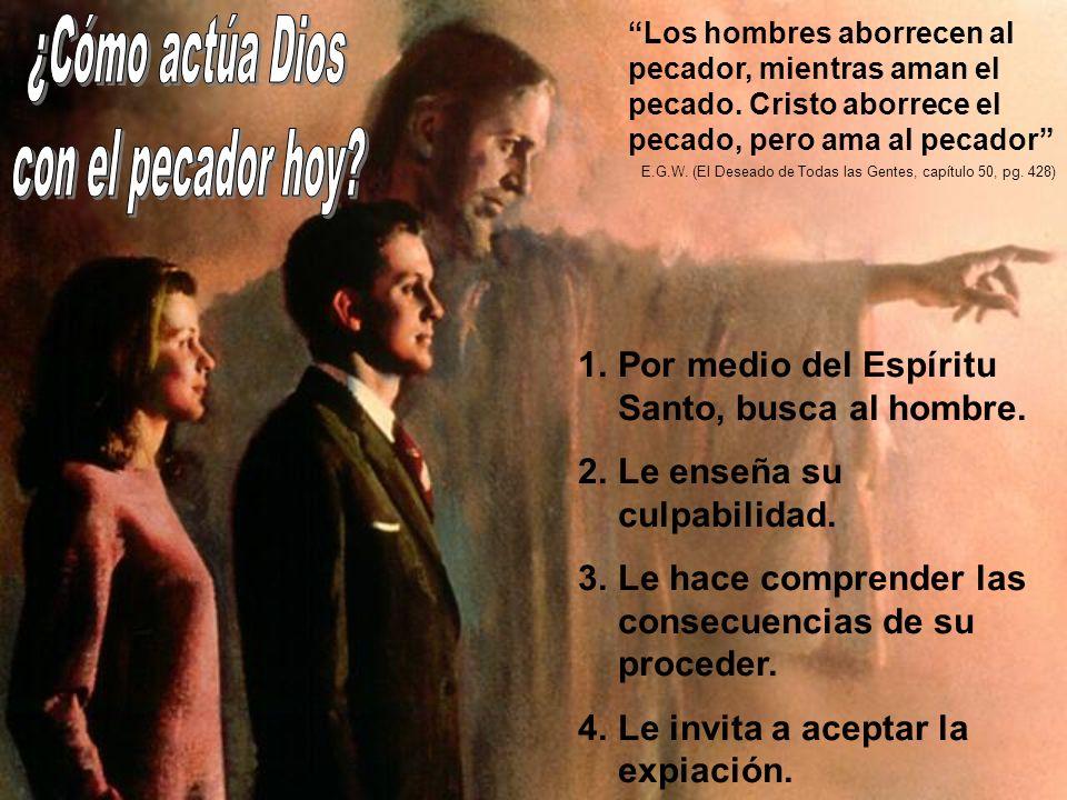 1.Por medio del Espíritu Santo, busca al hombre. 2.Le enseña su culpabilidad. 3.Le hace comprender las consecuencias de su proceder. 4.Le invita a ace