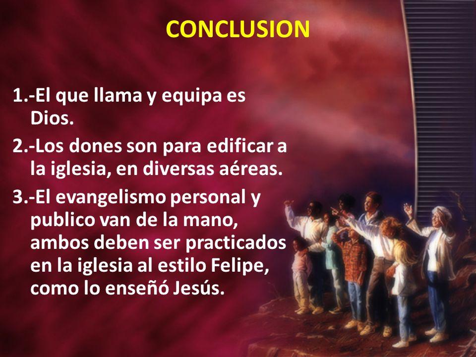 CONCLUSION 1.-El que llama y equipa es Dios.