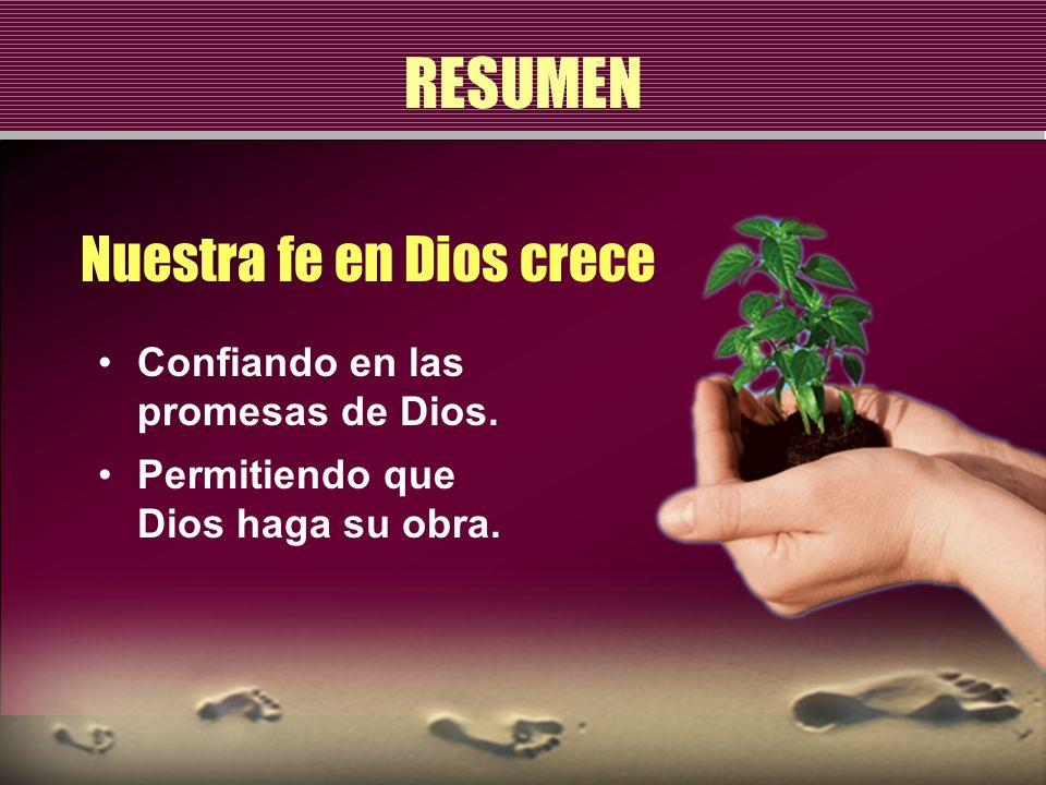 RESUMEN Nuestra fe en Dios crece Confiando en las promesas de Dios. Permitiendo que Dios haga su obra.