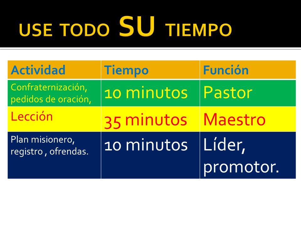 ActividadTiempoFunción Confraternización, pedidos de oración, 10 minutosPastor Lección 35 minutosMaestro Plan misionero, registro, ofrendas. 10 minuto