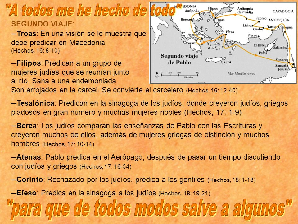SEGUNDO VIAJE: Troas: En una visión se le muestra que debe predicar en Macedonia (Hechos, 16: 8-10) Filipos: Predican a un grupo de mujeres judías que