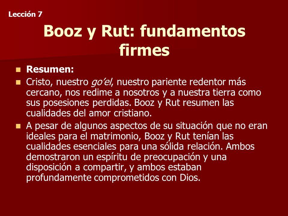 Booz y Rut: fundamentos firmes Resumen: Cristo, nuestro goel, nuestro pariente redentor más cercano, nos redime a nosotros y a nuestra tierra como sus posesiones perdidas.