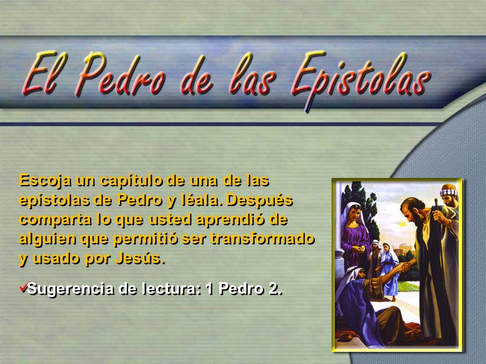 Escoja un capítulo de una de las epístolas de Pedro y léala.