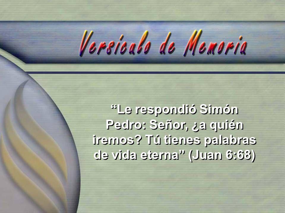 Le respondió Simón Pedro: Señor, ¿a quién iremos? Tú tienes palabras de vida eterna (Juan 6:68)