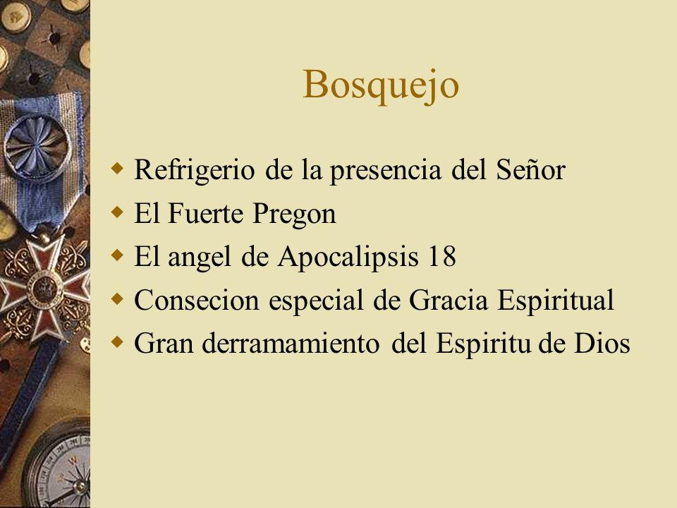 Bosquejo Refrigerio de la presencia del Señor El Fuerte Pregon El angel de Apocalipsis 18 Consecion especial de Gracia Espiritual Gran derramamiento d