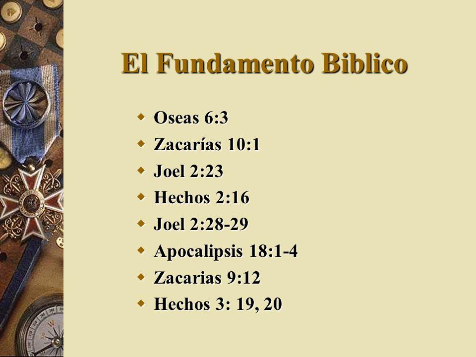 El Fundamento Biblico Oseas 6:3 Oseas 6:3 Zacarías 10:1 Zacarías 10:1 Joel 2:23 Joel 2:23 Hechos 2:16 Hechos 2:16 Joel 2:28-29 Joel 2:28-29 Apocalipsi