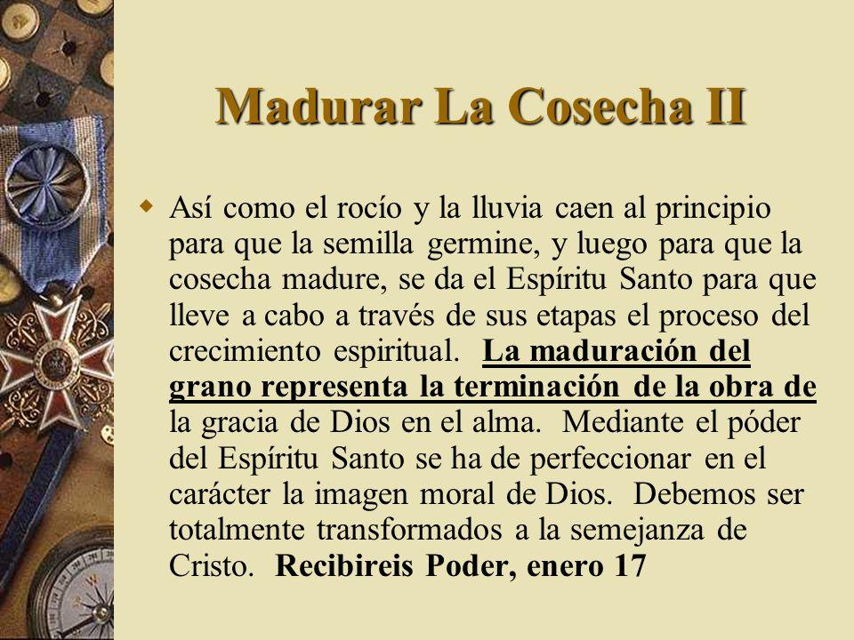 Madurar La Cosecha II Así como el rocío y la lluvia caen al principio para que la semilla germine, y luego para que la cosecha madure, se da el Espíri