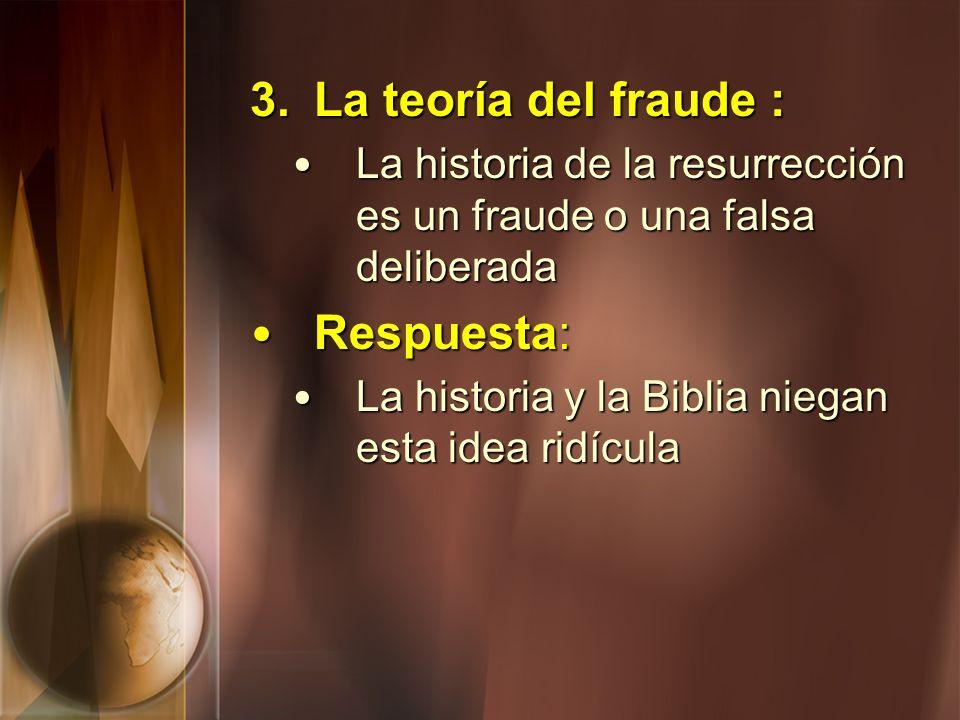 3.La teoría del fraude : La historia de la resurrección es un fraude o una falsa deliberada La historia de la resurrección es un fraude o una falsa de