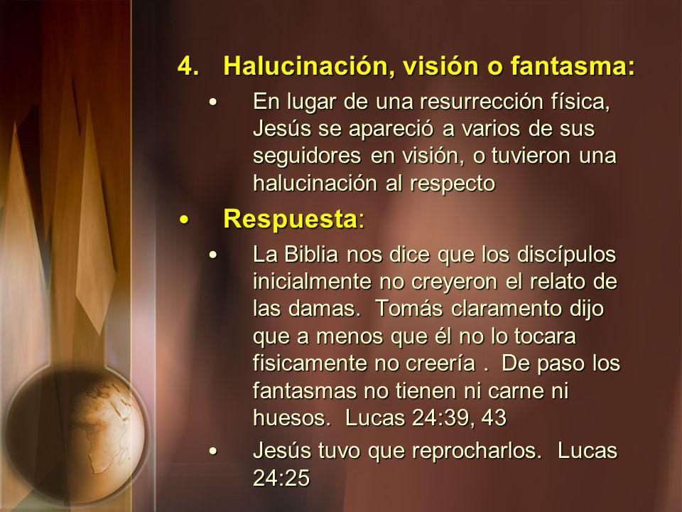 4.Halucinación, visión o fantasma: En lugar de una resurrección física, Jesús se apareció a varios de sus seguidores en visión, o tuvieron una halucin