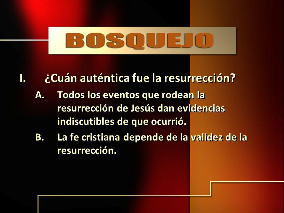 I.¿Cuán auténtica fue la resurrección? A.Todos los eventos que rodean la resurrección de Jesús dan evidencias indiscutibles de que ocurrió. B.La fe cr