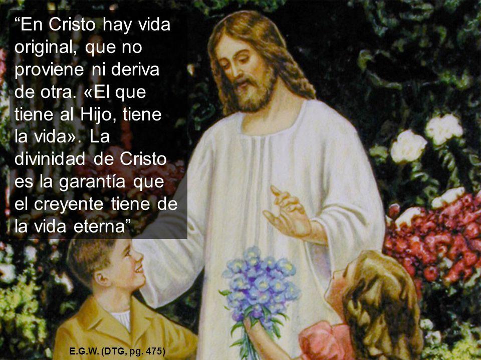 En Cristo hay vida original, que no proviene ni deriva de otra. «El que tiene al Hijo, tiene la vida». La divinidad de Cristo es la garantía que el cr
