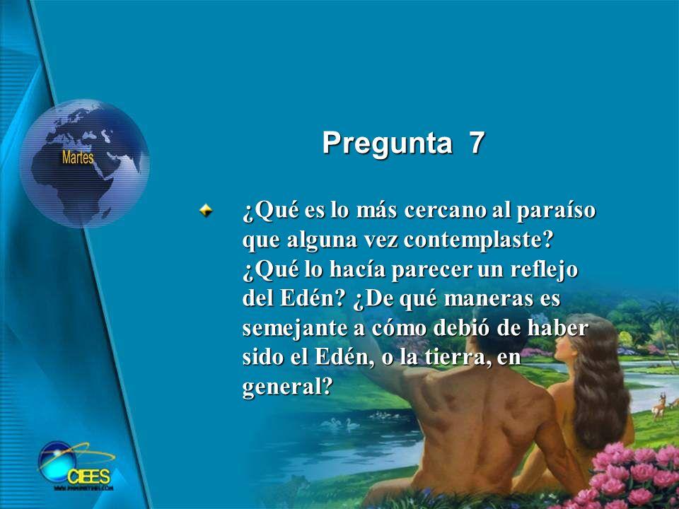 Pregunta 7 ¿Qué es lo más cercano al paraíso que alguna vez contemplaste.