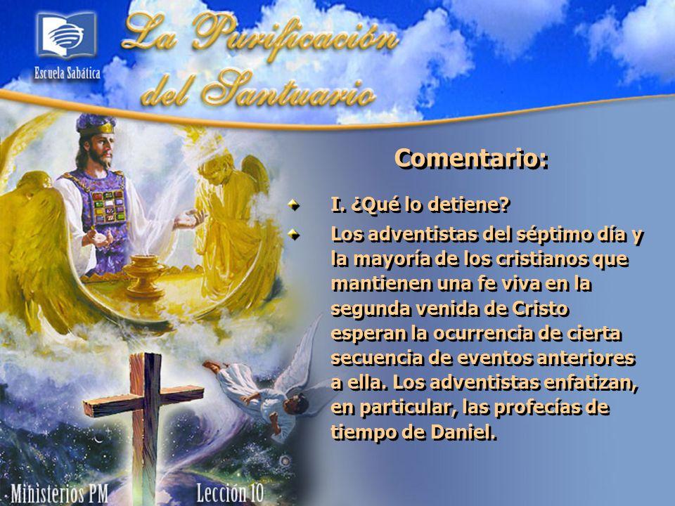 La Purificación del Santuario del Antiguo Testamento Pregunta nº 1 Lee Levítico 16:16, 19.