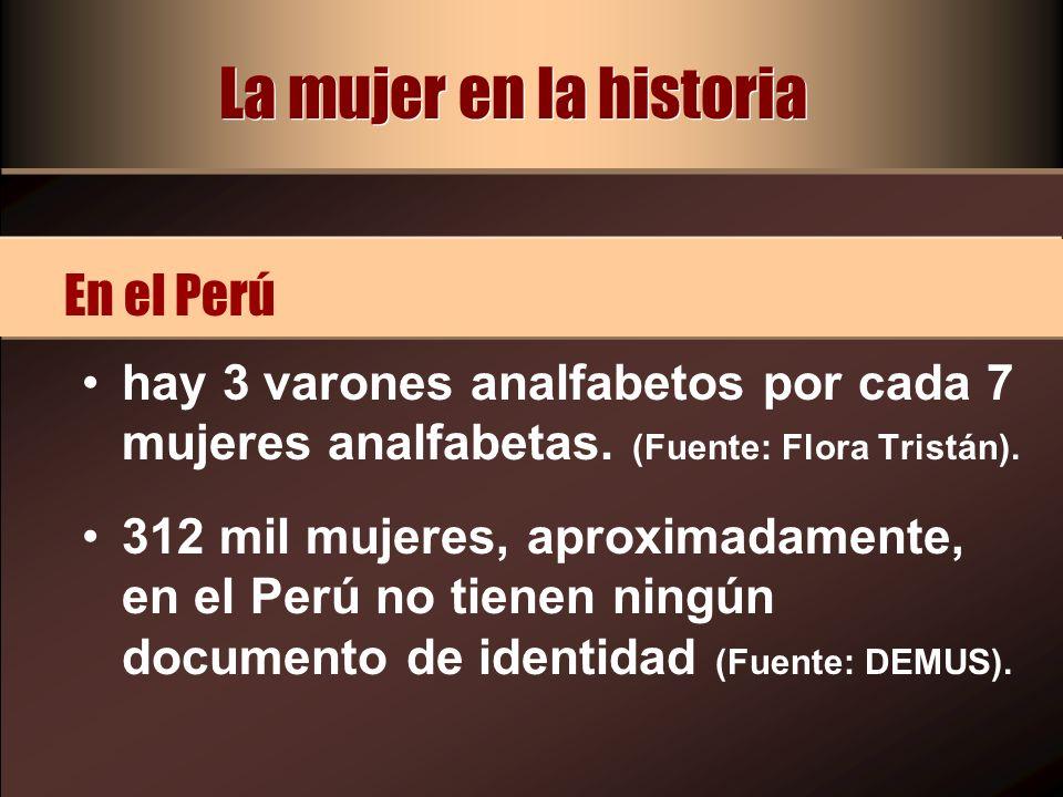 hay 3 varones analfabetos por cada 7 mujeres analfabetas. (Fuente: Flora Tristán). 312 mil mujeres, aproximadamente, en el Perú no tienen ningún docum
