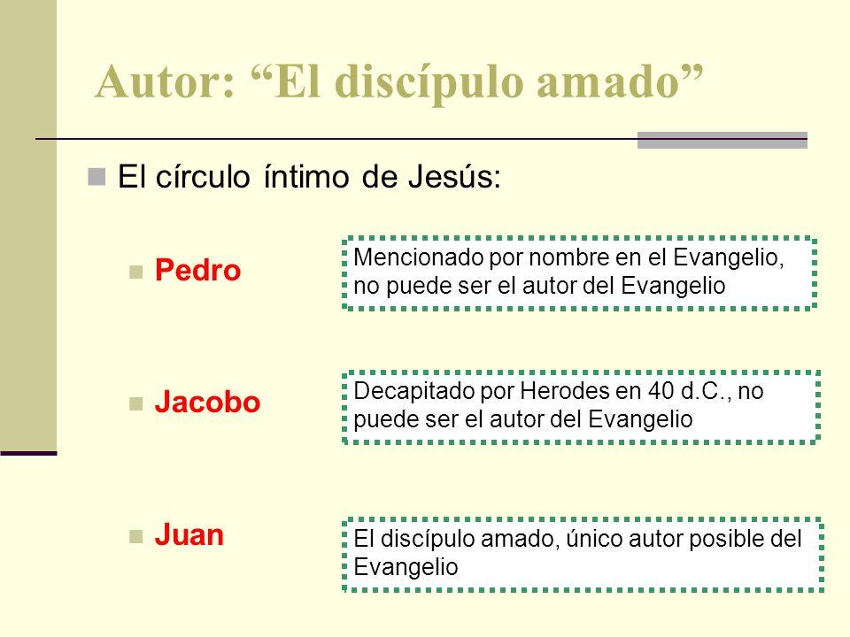 Autor: El discípulo amado El círculo íntimo de Jesús: Pedro Jacobo Juan El discípulo amado, único autor posible del Evangelio Decapitado por Herodes e