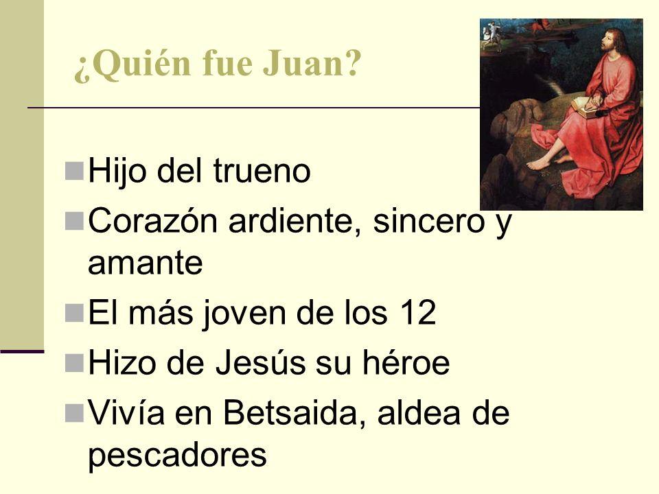 ¿Quién fue Juan? Hijo del trueno Corazón ardiente, sincero y amante El más joven de los 12 Hizo de Jesús su héroe Vivía en Betsaida, aldea de pescador