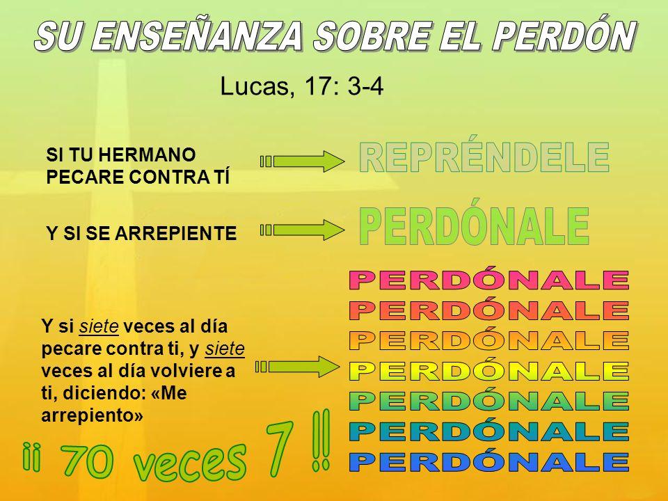 Y si siete veces al día pecare contra ti, y siete veces al día volviere a ti, diciendo: «Me arrepiento» Lucas, 17: 3-4 SI TU HERMANO PECARE CONTRA TÍ