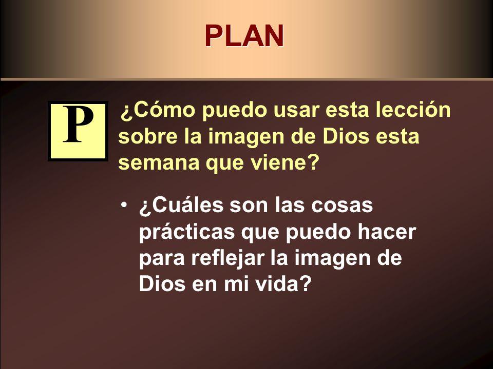 PLAN ¿Cómo puedo usar esta lección sobre la imagen de Dios esta semana que viene? ¿Cuáles son las cosas prácticas que puedo hacer para reflejar la ima