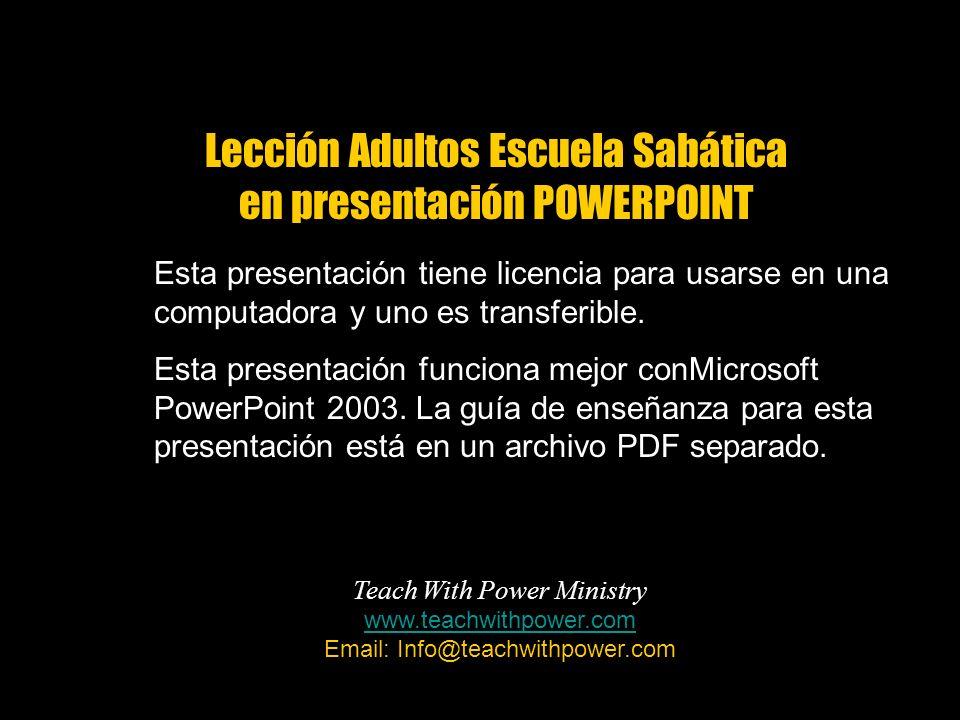 Esta presentación tiene licencia para usarse en una computadora y uno es transferible. Esta presentación funciona mejor conMicrosoft PowerPoint 2003.