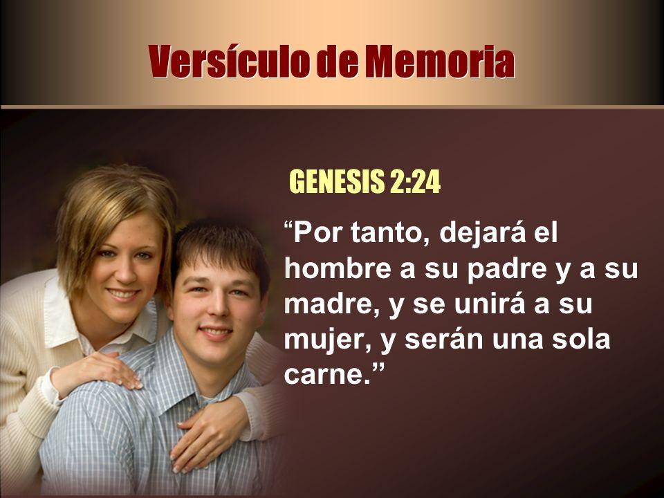 Versículo de Memoria Por tanto, dejará el hombre a su padre y a su madre, y se unirá a su mujer, y serán una sola carne. GENESIS 2:24
