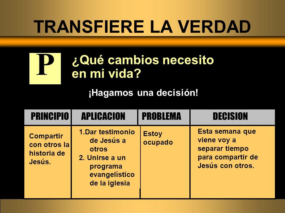 ¿Qué cambios necesito en mi vida? Compartir con otros la historia de Jesús. Estoy ocupado 1.Dar testimonio de Jesús a otros 2. Unirse a un programa ev
