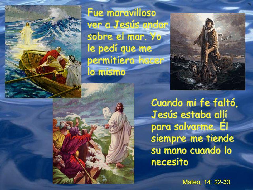 Mateo, 14: 22-33 Fue maravilloso ver a Jesús andar sobre el mar. Yo le pedí que me permitiera hacer lo mismo Cuando mi fe faltó, Jesús estaba allí par