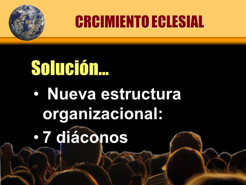 Solución… CRCIMIENTO ECLESIAL Nueva estructura organizacional: 7 diáconos