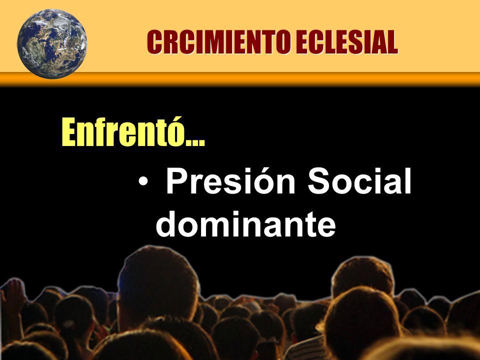 Presión Social dominante CRCIMIENTO ECLESIAL Enfrentó…