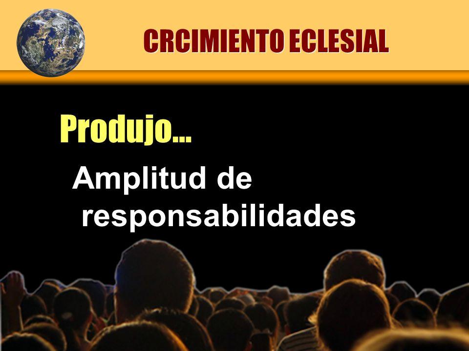 Amplitud de responsabilidades Produjo… CRCIMIENTO ECLESIAL
