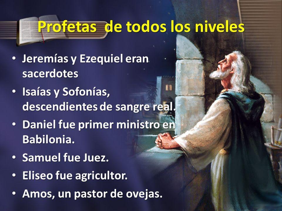 Profetas de todos los niveles Jeremías y Ezequiel eran sacerdotes Jeremías y Ezequiel eran sacerdotes Isaías y Sofonías, descendientes de sangre real.