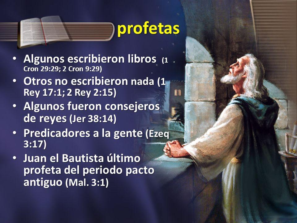 profetas Algunos escribieron libros (1 Cron 29:29; 2 Cron 9:29) Algunos escribieron libros (1 Cron 29:29; 2 Cron 9:29) Otros no escribieron nada (1 Re