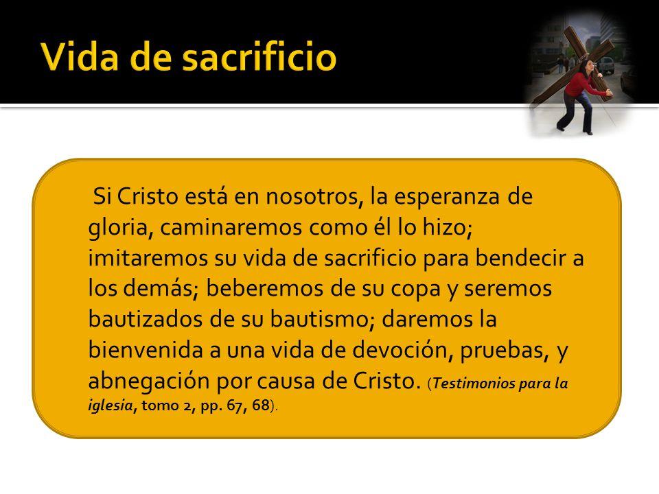 Si Cristo está en nosotros, la esperanza de gloria, caminaremos como él lo hizo; imitaremos su vida de sacrificio para bendecir a los demás; beberemos