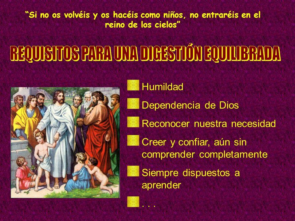Si no os volvéis y os hacéis como niños, no entraréis en el reino de los cielos Humildad Dependencia de Dios Reconocer nuestra necesidad Creer y confi