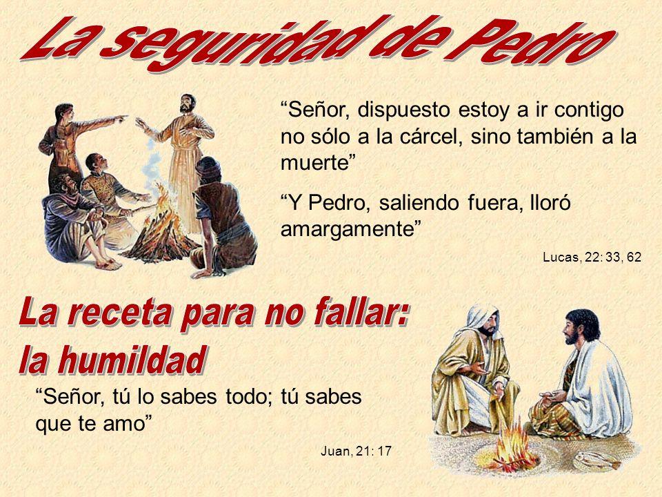Señor, dispuesto estoy a ir contigo no sólo a la cárcel, sino también a la muerte Y Pedro, saliendo fuera, lloró amargamente Lucas, 22: 33, 62 Señor,