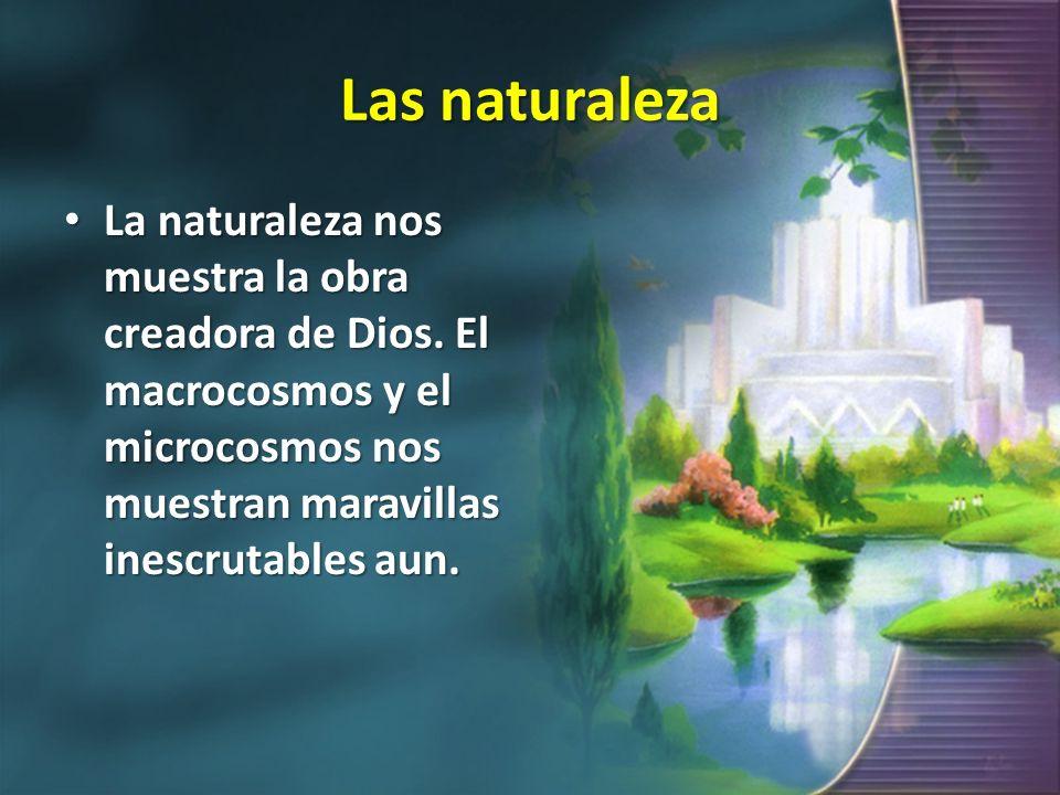 Las naturaleza La naturaleza nos muestra la obra creadora de Dios. El macrocosmos y el microcosmos nos muestran maravillas inescrutables aun. La natur