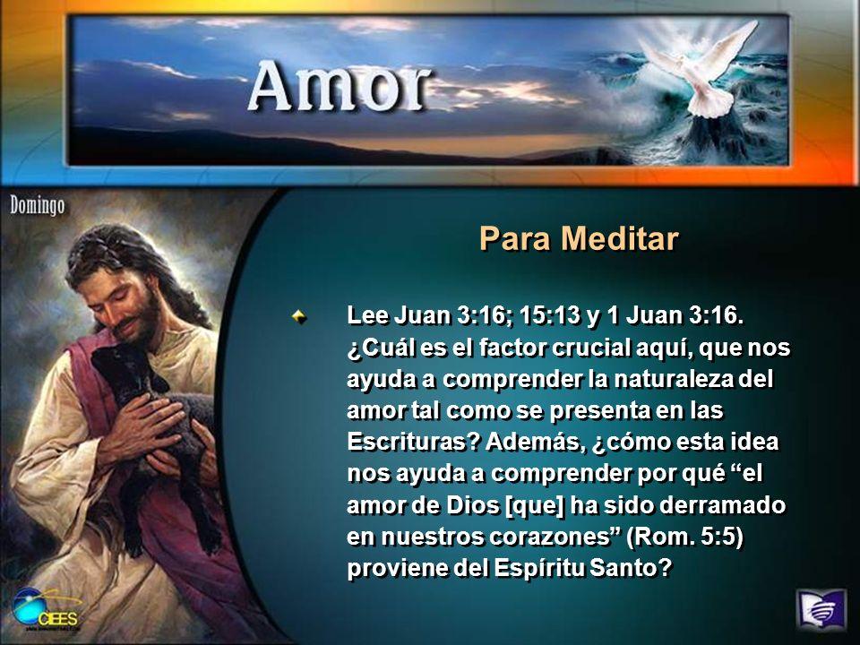 Lee Juan 3:16; 15:13 y 1 Juan 3:16. ¿Cuál es el factor crucial aquí, que nos ayuda a comprender la naturaleza del amor tal como se presenta en las Esc