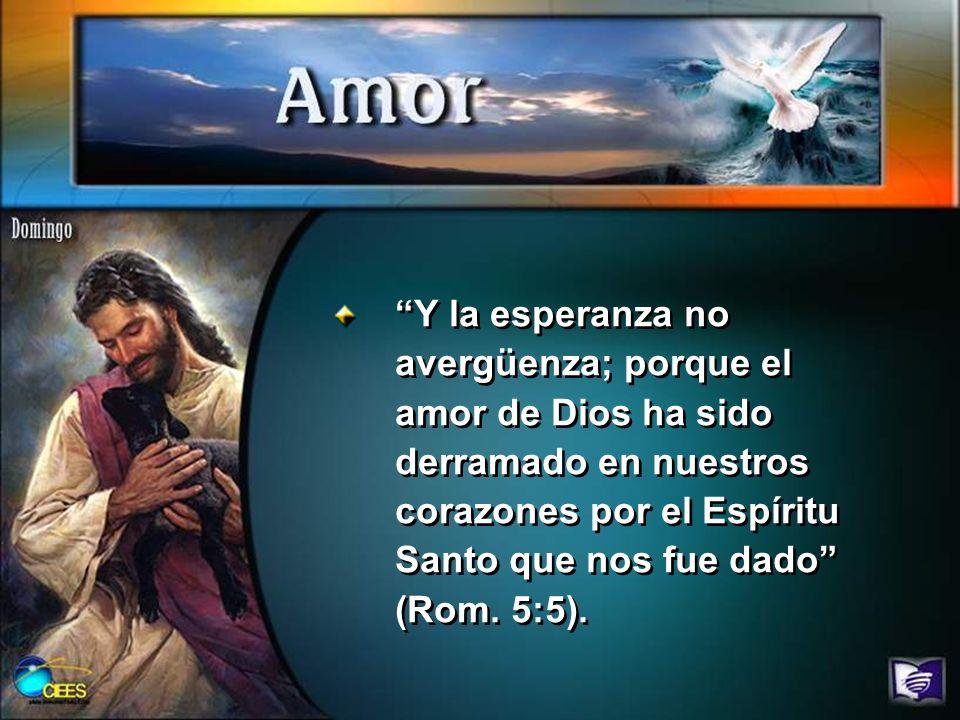 Y la esperanza no avergüenza; porque el amor de Dios ha sido derramado en nuestros corazones por el Espíritu Santo que nos fue dado (Rom. 5:5).