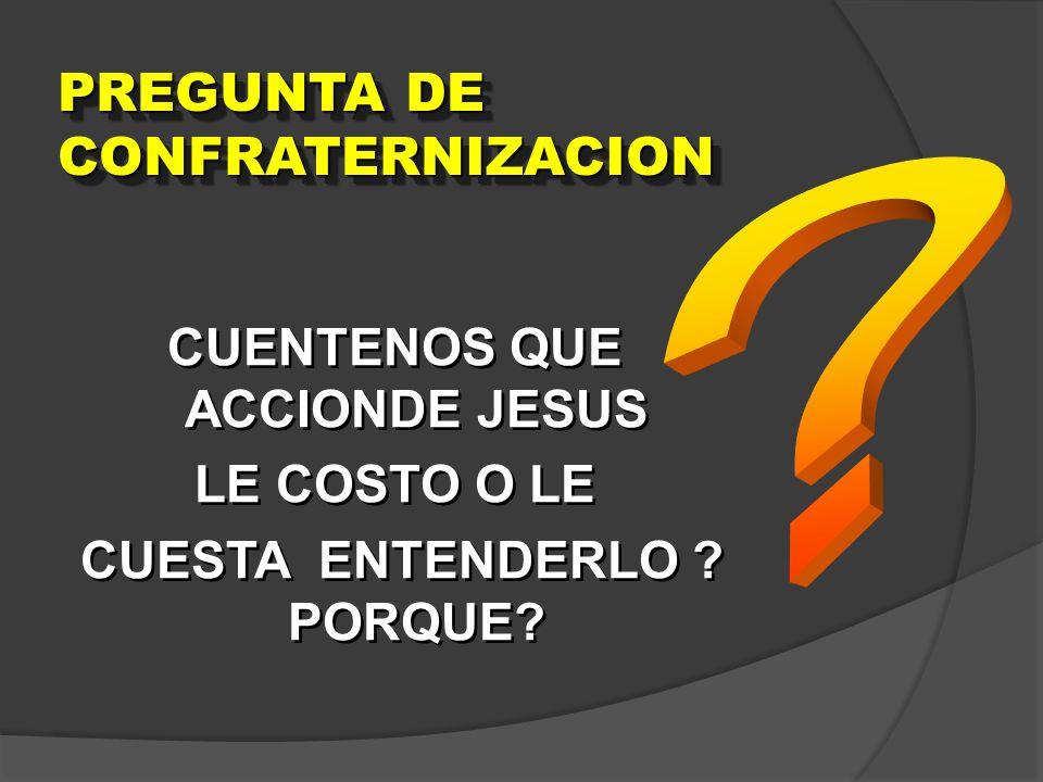 PREGUNTA DE CONFRATERNIZACION CUENTENOS QUE ACCIONDE JESUS LE COSTO O LE CUESTA ENTENDERLO ? PORQUE? CUENTENOS QUE ACCIONDE JESUS LE COSTO O LE CUESTA