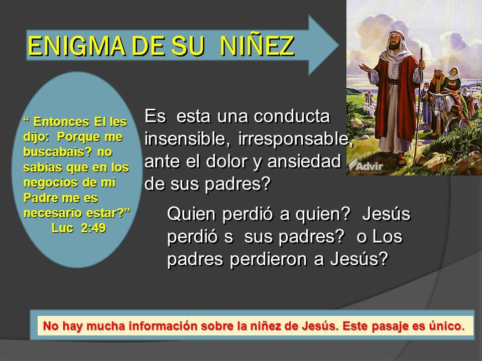 ENIGMA DE SU NIÑEZ Entonces El les Entonces El les dijo: Porque me buscabais? no sabias que en los negocios de mi Padre me es necesario estar? Luc 2:4