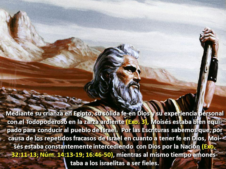 Mediante su crianza en Egipto, su sólida fe en Dios y su experiencia personal con el Todopoderoso en la zarza ardiente (Exo. 3), Moisés estaba bien eq
