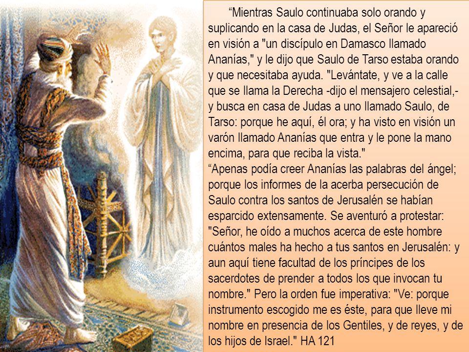 Mientras Saulo continuaba solo orando y suplicando en la casa de Judas, el Señor le apareció en visión a