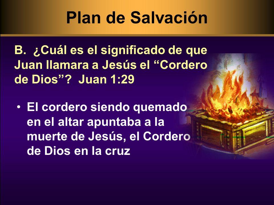 El cordero siendo quemado en el altar apuntaba a la muerte de Jesús, el Cordero de Dios en la cruz B. ¿Cuál es el significado de que Juan llamara a Je