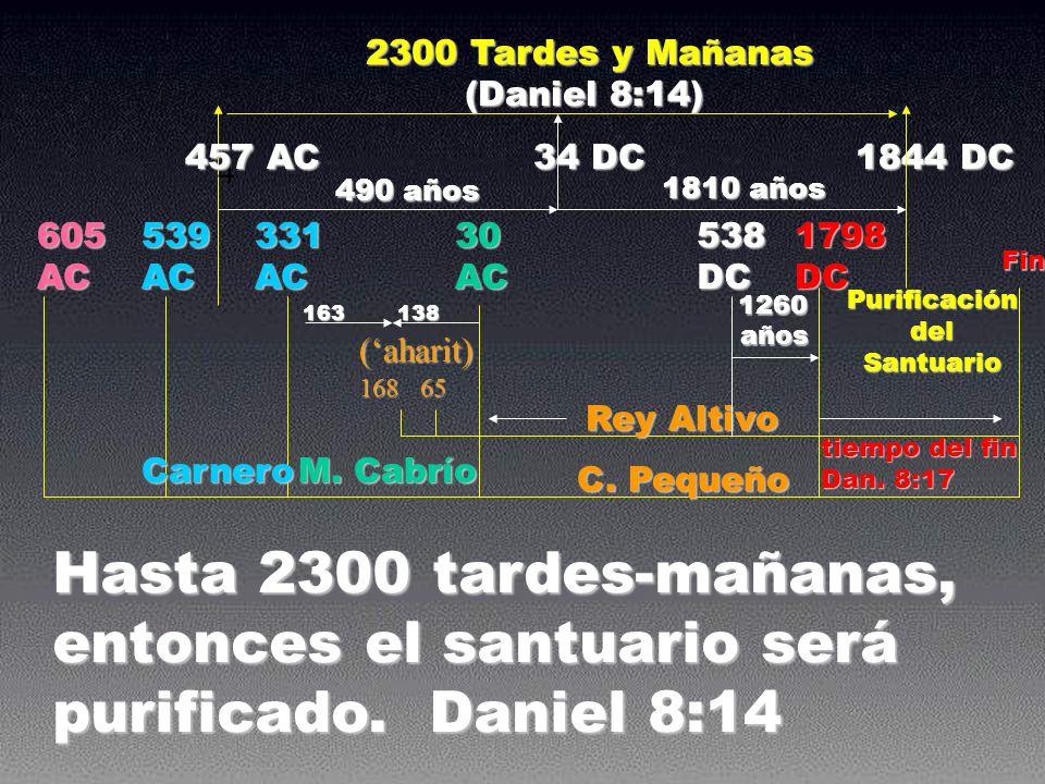 605 AC 539 AC 331 AC 30 AC 1798 DC 163 138 163 138 16865 (aharit) C. Pequeño Rey Altivo Purificación del Santuario tiempo del fin Dan. 8:17 1844 DC Ca