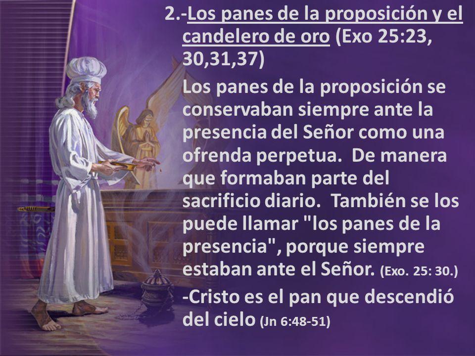 2.-Los panes de la proposición y el candelero de oro (Exo 25:23, 30,31,37) Los panes de la proposición se conservaban siempre ante la presencia del Se