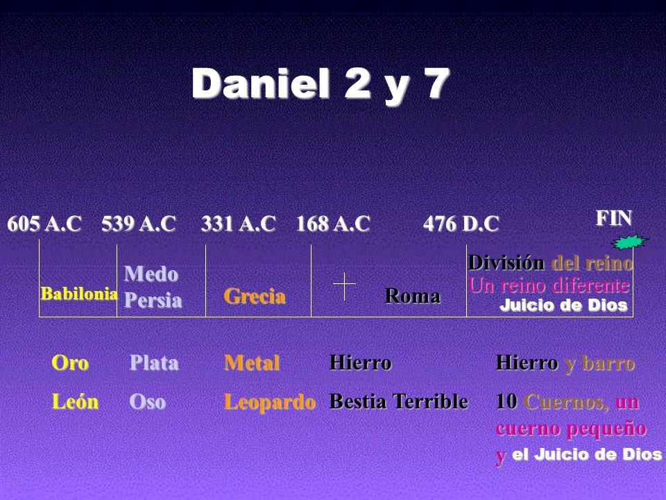 605 A.C 539 A.C 331 A.C 168 A.C 476 D.C FIN Babilonia Medo Persia GreciaRoma Un reino diferente OroPlataMetalHierro Hierro y barro LeónOsoLeopardo Bes