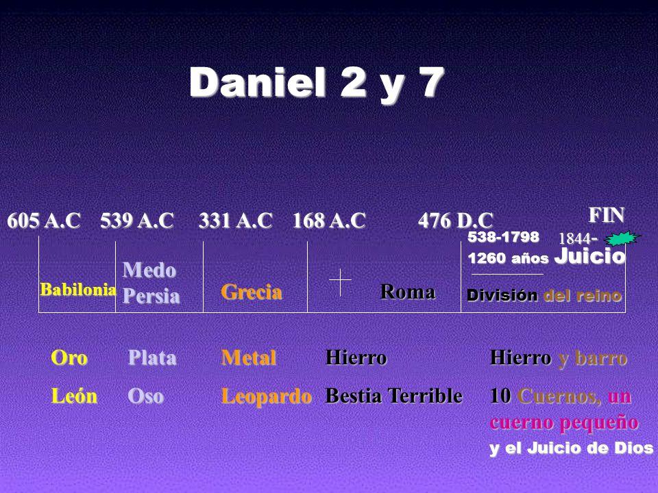 605 A.C 539 A.C 331 A.C 168 A.C 476 D.C FIN Babilonia Medo Persia GreciaRoma OroPlataMetalHierro Hierro y barro LeónOsoLeopardo Bestia Terrible 10 Cue
