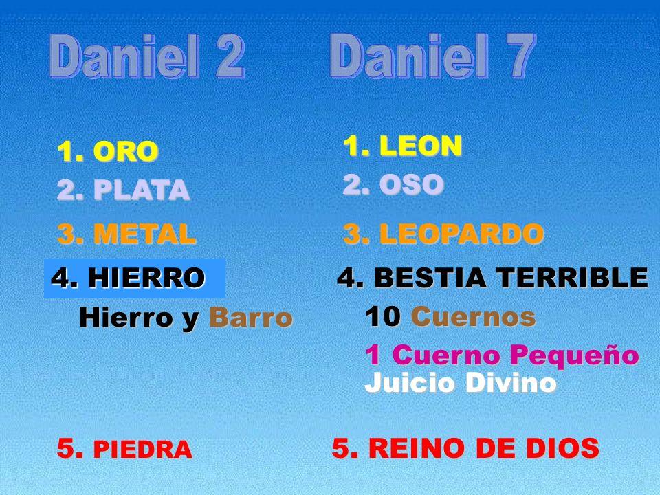 1. LEON 1. LEON 1. ORO 2. PLATA 2. OSO 3. METAL 3. LEOPARDO 4. HIERRO 5. PIEDRA 4. BESTIA TERRIBLE Hierro y Barro 10 Cuernos 1 Cuerno Pequeño Juicio D