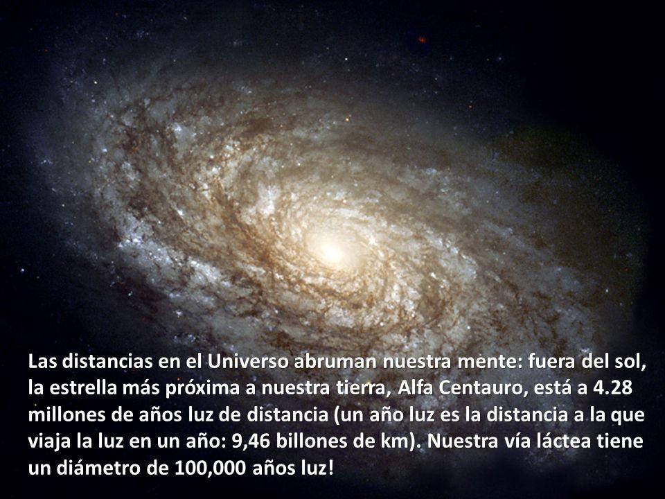 Las distancias en el Universo abruman nuestra mente: fuera del sol, la estrella más próxima a nuestra tierra, Alfa Centauro, está a 4.28 millones de a