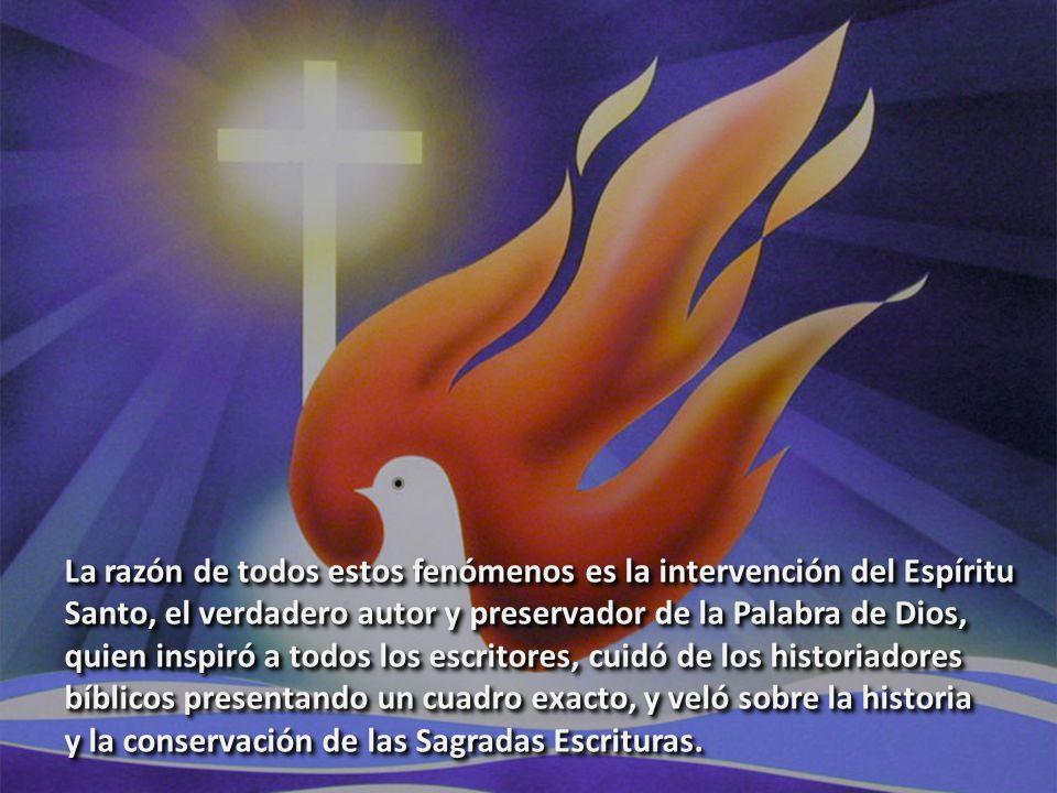 La razón de todos estos fenómenos es la intervención del Espíritu Santo, el verdadero autor y preservador de la Palabra de Dios, quien inspiró a todos