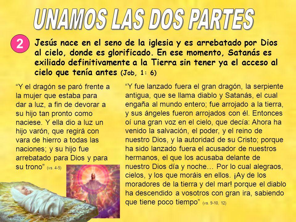 2 Jesús nace en el seno de la iglesia y es arrebatado por Dios al cielo, donde es glorificado. En ese momento, Satanás es exiliado definitivamente a l